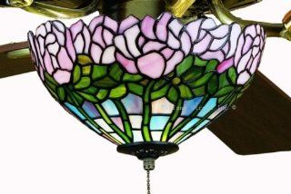 Cabbage Rose Tiffany Stained Glass Ceiling Fan 52 Inches Width   Tiffany Ceiling Fan Light