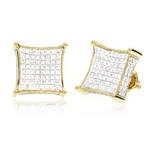 0.45 CT, White Round Brilliant cut Diamond Micro pave Setting 3D Square Men's Stud Earrings in 10K Yellow Gold Jewelry