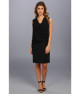 DKNYC Sleeveless Chiffon Overlay Draped Dress Womens Dress (Black)