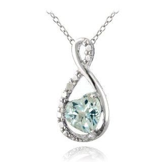 Sterling Silver Blue Topaz & Diamond Accent Infinity Heart Necklace Jewelry