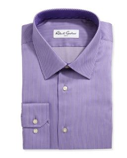 Long Sleeve Striped Poplin Dress Shirt, White/Purple