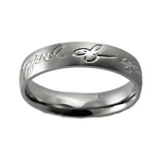 Christian Womens Stainless Steel Abstinence Girl of God   Proverbs 31 Handwriting Chastity Ring for Girls   Girls Purity Ring   Comfort Fit Ring Jewelry