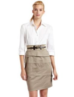 Jessica Howard Womens Belted Shirt Dress, White Khaki, 16