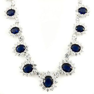 "As Seen On "" Pretty Woman "" Necklace + Earrings Set   Sapphire Blue Cubic Zirconia September Birthstone Includes Velvet Gift Box Soap Opera Jewelry Choker Necklaces Jewelry"