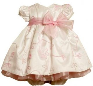 Bonnie Baby Girls Newborn Taffeta Dress with Ombre Ribbon Trim, Pink, 0 3 Months Clothing