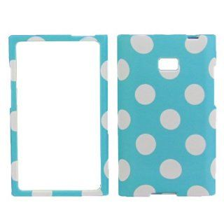 Lg Optimus Logic L35g / Dynamic L38c (Straighttalk/net 10) Case Cover Rubberised Faceplate Turquoise Polka Dots Cell Phones & Accessories