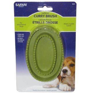 Safari Pet Products DSFW421R Rubber Dog Curry Brush, Black