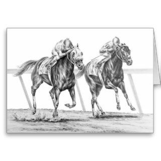 Thoroughbred Horse Race Drawing by Kelli Swan Greeting Cards