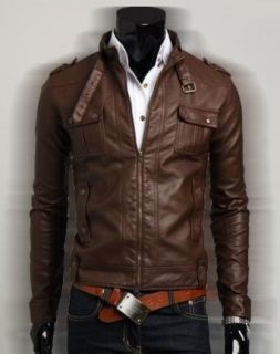 Slim fit chocolate Rider Faux Leather Jacket USA Return Address Faux Leather Outerwear Jackets Clothing