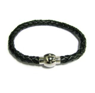 Stainless Steel Black Braided Bolo Leather Cord 5mm Magnetic Wrist Round Bracelet 7.5'' Bangle Bracelets Jewelry