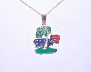 14k Yellow Gold Puerto Rico Charm Jewelry