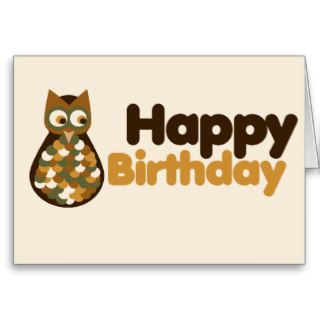 Happy Birthday Cute Owl Design Greeting Cards
