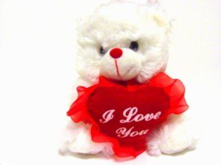 White Plush Teddy Bear with Red. I Love You Heart Toys & Games