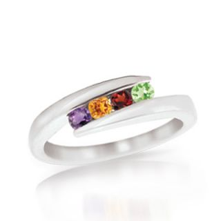 Personalized Birthstone Bypass Mothers Ring in 10K Gold (3 7 Stones