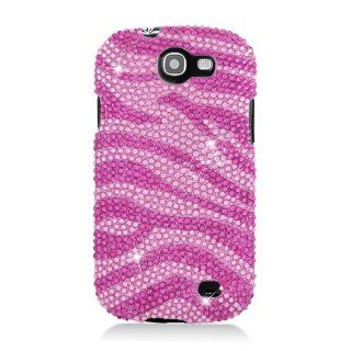 Pink Zebra Bling Gem Jeweled Crystal Cover Case for Samsung Galaxy Express SGH I437 Cell Phones & Accessories