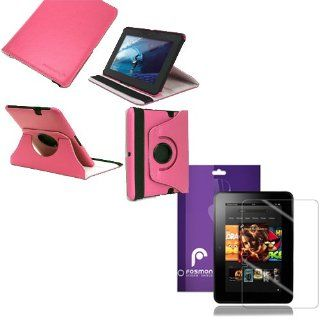 "Fosmon 2 in 1 Bundle for  Kindle Fire HD 7"" Inch Tablet Device   1x Fosmon GYRE Series 360 Degree Rotating Leather Case with Multi Angle Stand + Sleep / Wake Function (Pink), Fosmon *1 Pack* Crystal Clear Screen Protector Shield Electronics"