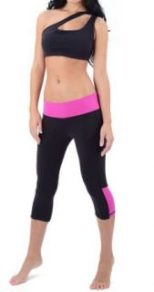Cute Yoga Capris Leggings (S M, Black Hot Pink) Clothing