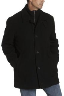 London Fog Men's Wool Cashmere Car Coat With Inner Bib, Black, Small at  Men�s Clothing store