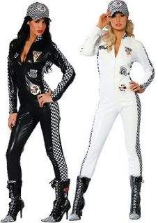 Pitt Girl   Women's Race Car Driver Sexy Halloween Costumes Uniforms (Medium / Large, White) Clothing