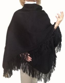 Warm Sexy Soft 100% Alpaca Wool Poncho Coat Cape Solid Rich Black Color