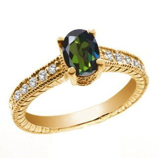 1.35 Ct Tourmaline Green Mystic Topaz White Topaz 925 Yellow Gold Plated Silver Ring Jewelry