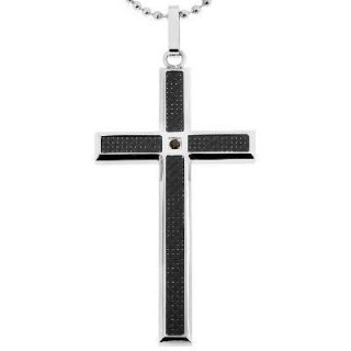 Cross Pendant with Black Carbon Fiber in Stainless Steel   24   Zales