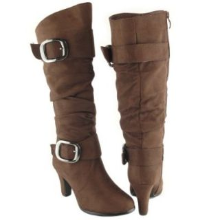 Women Slouchy Knee High Faux Suede High Heel Boots Brown buckles shoes Women S Boots Shoes