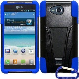 Gizmo Dorks Hybrid Cover Case with Stand for the LG Spirit 4G, Black Blue Cell Phones & Accessories