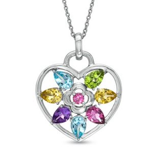 Multi Semi Precious Gemstone Flower Heart Pendant in Sterling Silver