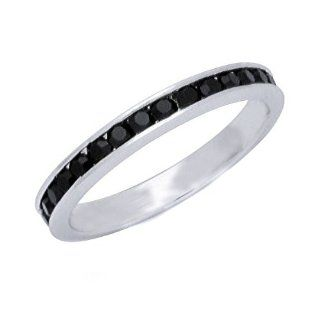 316 L Stainless Steel Black Cubic Zirconia 3mm Eternity Ring Available in Sizes 4 to 12 Jewelry