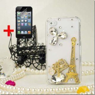 APPLE IPHONE 4 4S 3D GOLD PARIS EIFFEL TOWER DIAMOND GEM BLING COVER CASE + FREE SCREEN PROTECTOR from [ACCESSORY ARENA] Cell Phones & Accessories