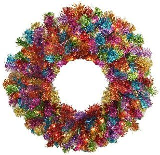 "24"" Pre Lit Rainbow Color Laser Tinsel Christmas Wreath   Clear Lights"