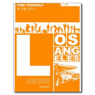 Los Angeles Poster in Orange color Post Card