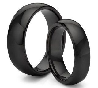 His & Her's 8MM/6MM Tungsten Carbide Classic Polished Black Wedding Band Ring Set (Available Sizes 4 14 Including Half Sizes) Jewelry