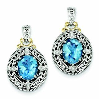 Sterling Silver with 14k Gold Diamond & Blue Topaz Earrings   Antique Boutique   Vintage Style   Jewelry Goldenmine Jewelry