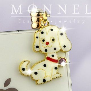 ip410 Cute Black Dots White Puppy Dog Anti Dust Plug Cover Charm for iPhone 3.5mm Cell Phone Cell Phones & Accessories