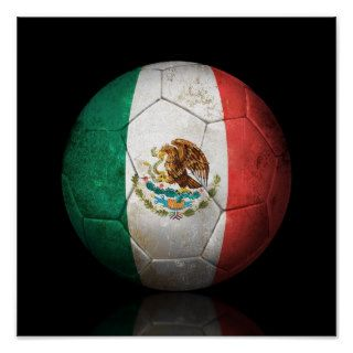 Worn Mexican Flag Football Soccer Ball Print