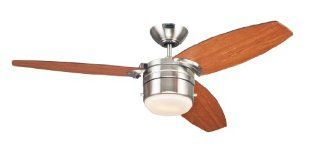Westinghouse 7247400 Lavada One Light Reversible Three Blade Indoor Ceiling Fan, 48 Inch, Brushed Nickel Finish with Opal Frosted Glass