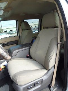 Exact Seat Covers, FD80 F485/F498 X3/V4, 2011 2013 Ford F250 F450 Lariat and King Ranch Custom Exact Fit Seat Covers for Front Buckets and Rear 60/40 with Integrated Cup Holders, Taupe Automotive
