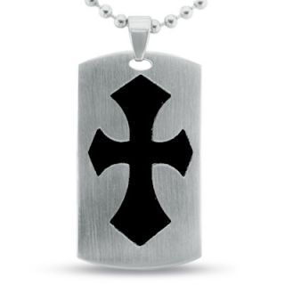 Mens Stainless Steel Gothic Cross Dog Tag Pendant with Black Resin