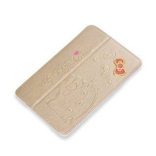 "HJX 9.7"" Gold   Sweet Hello Kitty Cute Pu Leather Case for Apple Ipad Mini Flip Case Smart Cover Stand Angle View + Gift 1pcs Insect Mosquito Repellent Wrist Bands bracelet Cell Phones & Accessories"