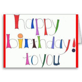 Happy Birthday Colorful Doodle Art Note Cards