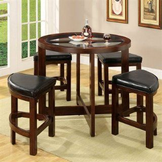 Shop Crystal Cove Dark Walnut Wood 5 Pieces Glass Top Dining Table Set by Furniture of America at the  Furniture Store. Find the latest styles with the lowest prices from Furniture of America