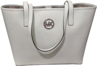 Michael Kors Jet Set MD Travel Jewel Tote Optic White Saffiano Leather Shoes