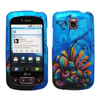 Blue Butterfly Green Orange Pink Daisy Flower Black Vine Design Rubberized Snap on Hard Shell Cover Protector Faceplate Cell Phone Case for T Mobile LG Optimus T P509 / LG Thrive / AT&T LG Phoenix P505 + Clear LCD Screen Guard Film Cell Phones & A