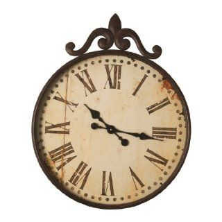Wilco Imports Distressed Metal Wall Clock with Roman Numerals 24.75 inch x 2.5 inch x 30 inch