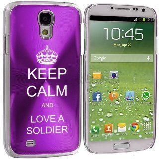 Purple Samsung Galaxy S4 S IV i9500 Aluminum Plated Hard Back Case Cover KK395 Keep Calm and Love A Soldier Cell Phones & Accessories