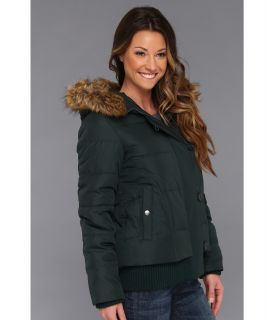 Dkny Hooded Faux Fur Bomber Jacket