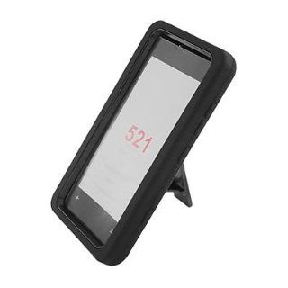 For T Mobile Nokia Lumia 521 Windows Phone 8 RUGGED Case Black Black With Stand
