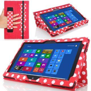 MoKo Slim Cover Case for Lenovo Thinkpad Tablet 2 10.1 inch Windows 8 Pro tablet, RED & DOT (with Flip Stand, Integrated Elastic Hand Strap, Stylus Loop, and Smart Cover Auto Wake/Sleep)  Players & Accessories